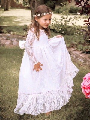 A-Line/Princess Floor-Length Lace Long Sleeves Jewel Bowknot Flower Girl Dresses