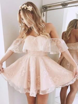 A-line/Princess Short/Mini Lace Sleeveless Off-the-Shoulder Dresses