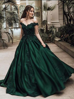 Ball Gown Floor-Length Satin Sleeveless Off-the-Shoulder Lace Dresses