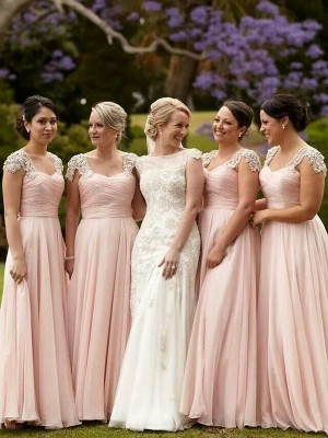 A-Line/Princess Floor-Length Chiffon Short Sleeves Square Beading Bridesmaid Dresses