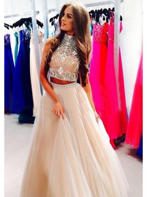 A-Line/Princess Floor-Length Tulle Sleeveless High Neck Beading Dresses