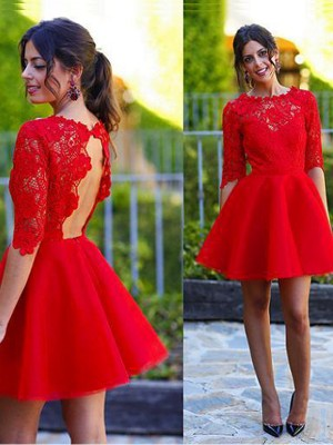 A-line/Princess Short/Mini Lace 1/2 Sleeves Scoop Lace Dresses