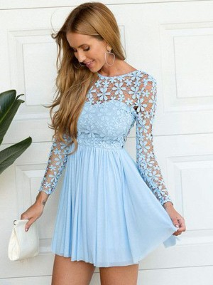 A-line/Princess Short/Mini Chiffon Long Sleeves Scoop Lace Dresses