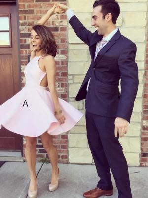 A-line/Princess Short/Mini Satin Sleeveless Halter Dresses