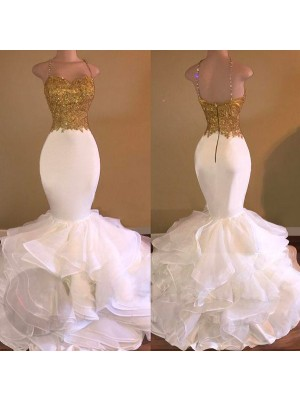 Trumpet/Mermaid Floor-Length Organza Sleeveless Spaghetti Straps Applique Dresses