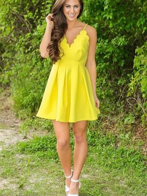 A-line/Princess V-neck Short/Mini Satin Sleeveless Dresses