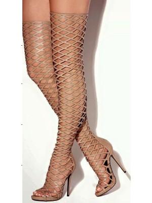 Women's PU Peep Toe Stiletto Heel Platform Over The Knee Black Boots