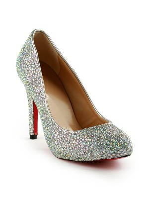 Women's Stiletto Heel Rubber With Rhinestones Party & Evening High Heels