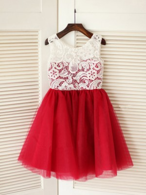 A-Line/Princess Sleeveless Tulle Knee-Length Lace Scoop Flower Girl Dresses
