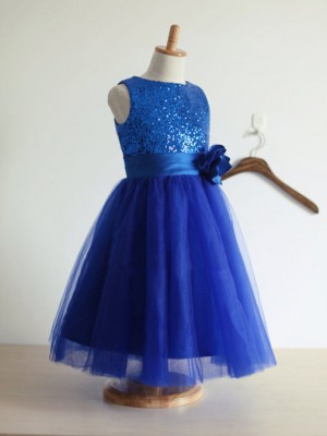 A-Line/Princess Sleeveless Tulle Tea-Length Hand-Made Flower Jewel Flower Girl Dresses