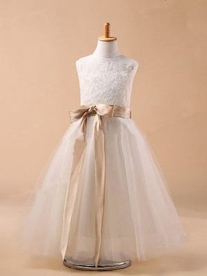 Ball Gown Sleeveless Tulle Tea-Length Bowknot Jewel Flower Girl Dresses