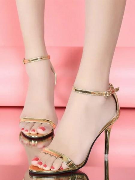 Patent Leather Stiletto Heel Peep Toe Women's Sandals