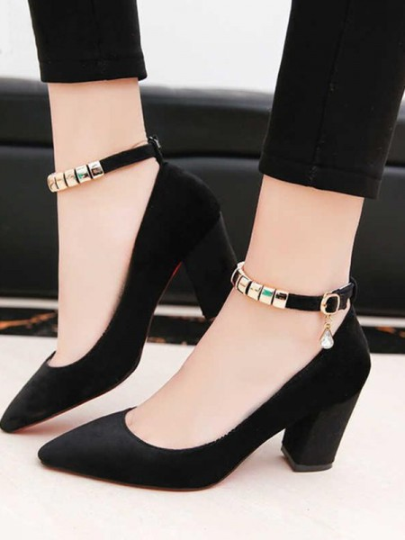 Ladies's PU Chunky Heel Closed Toe Sandals