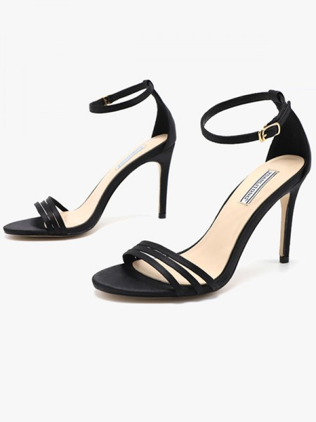 Ladies's Silk Stiletto Heel Peep Toe Sandals