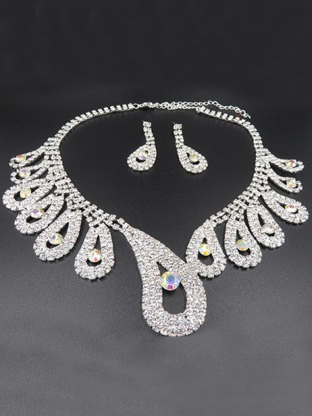 Wedding Luxurious Alloy With Rhinestone Bridal Jewelry Set