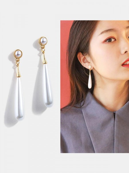 Elegant Alloy With Pearl Long Womens Earrings