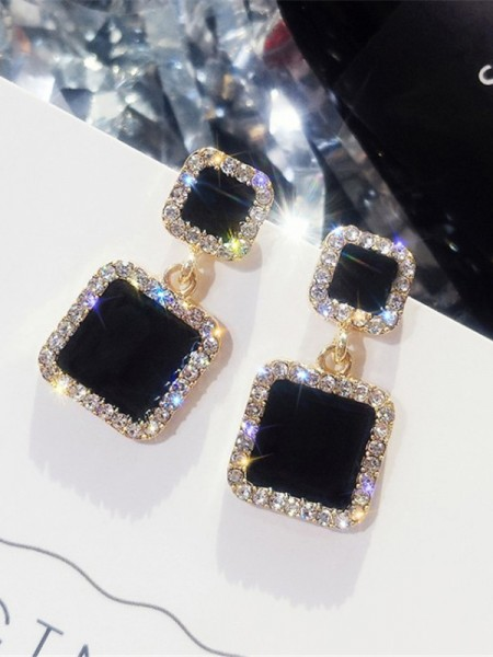 Hot Sale Beautiful Square Rhinestone Women's Earrings
