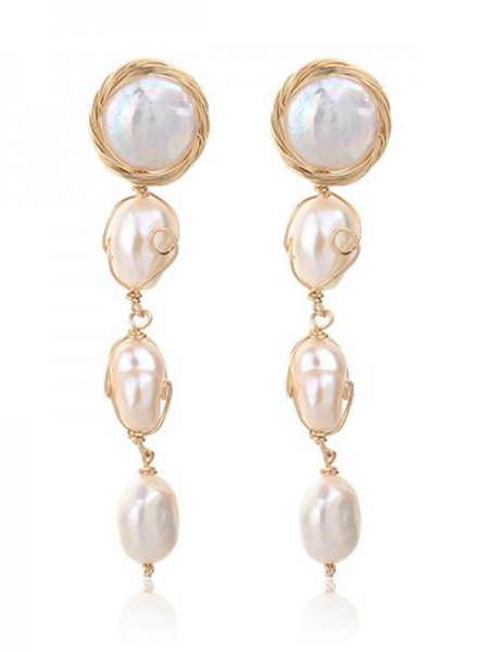 Beautiful Pearl Long Ladies Earrings