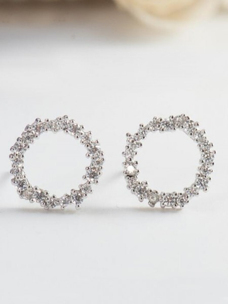 Womens Attractive S925 Silver With Zircon Earrings