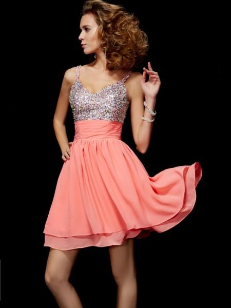 A-Line/Princess Chiffon V-neck Short/Mini Beading Sleeveless Cocktail Dresses