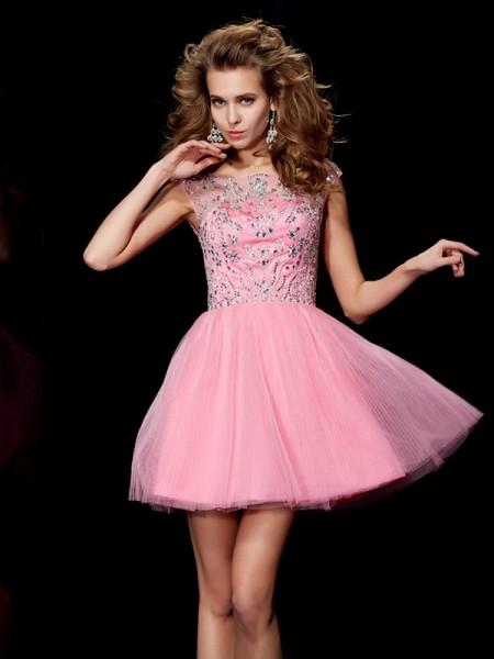 A-Line/Princess Satin Bateau Short/Mini Beading Sleeveless Cocktail Dresses