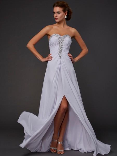 Sheath/Column Chiffon Strapless Sweetheart Floor-Length Beading Sleeveless Dresses