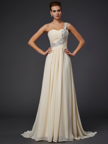 A-Line/Princess Chiffon One-Shoulder Floor-Length Beading Applique Sleeveless Dresses