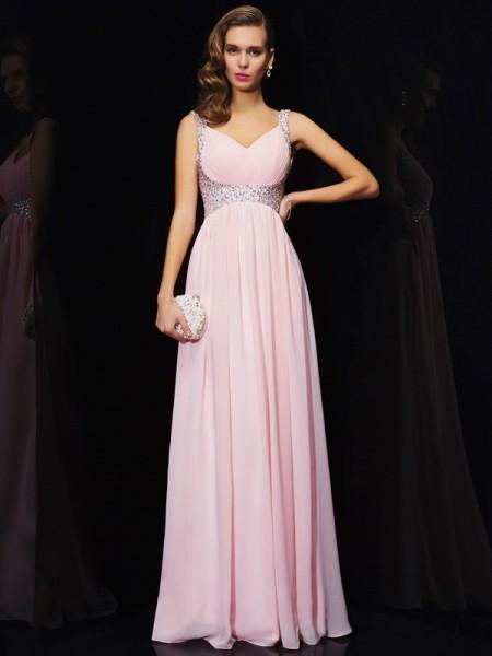 A-Line/Princess Chiffon V-neck Straps Floor-Length Beading Sleeveless Dresses