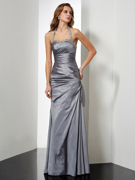 Trumpet/Mermaid Taffeta Halter Floor-Length Beading Bowknot Sleeveless Dresses