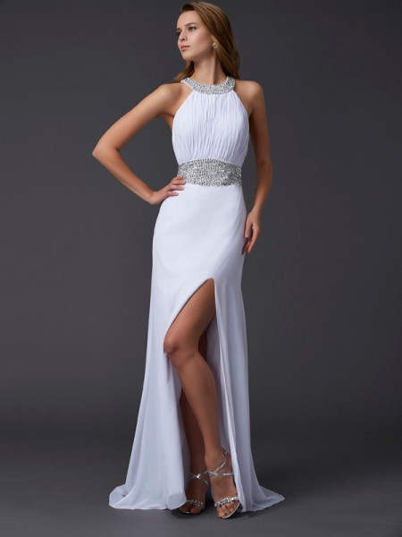 A-Line/Princess Chiffon Scoop Sweep/Brush Train Ruffles Beading Sleeveless Dresses