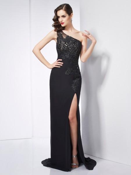 Sheath/Column Chiffon One-Shoulder Sweep/Brush Train Applique Sleeveless Dresses