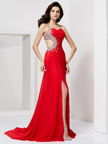 Trumpet/Mermaid Chiffon Sweetheart One-Shoulder Sweep/Brush Train Pleats Beading Sleeveless Dresses