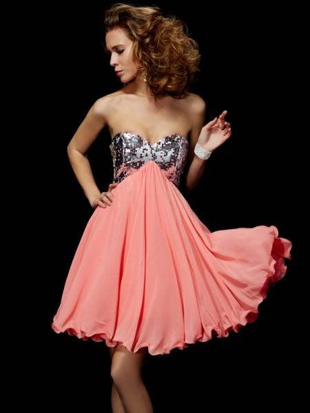 A-Line/Princess Chiffon Sweetheart Short/Mini Beading Sleeveless Cocktail Dresses
