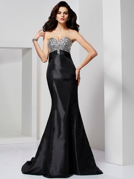 Trumpet/Mermaid Taffeta Sweetheart Sweep/Brush Train Pleats Beading Sleeveless Dresses