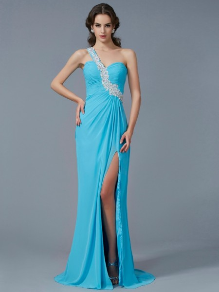 Sheath/Column Chiffon One-Shoulder Sweep/Brush Train Beading Applique Sleeveless Dresses
