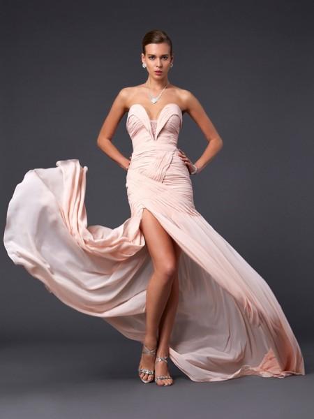 Sheath/Column Chiffon Sweetheart Sweep/Brush Train Pleats Sleeveless Dresses