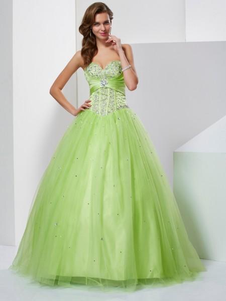 Ball Gown Tulle Sweetheart Floor-Length Beading Sleeveless Dresses