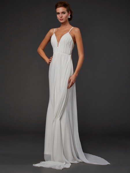 Trumpet/Mermaid Chiffon V-neck Floor-Length Ruffles Sleeveless Dresses