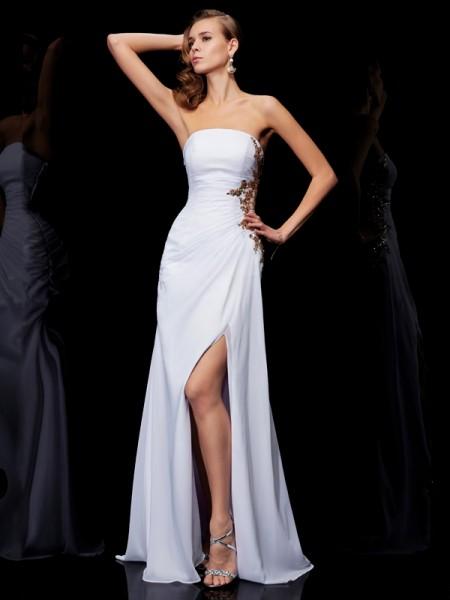 Sheath/Column Chiffon Strapless Floor-Length Ruffles Applique Sleeveless Dresses