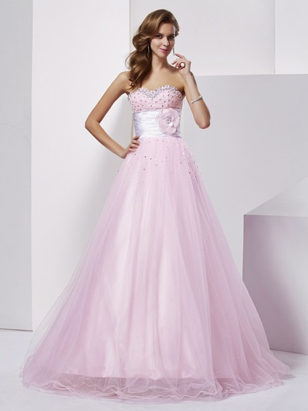 Ball Gown Elastic Woven Satin Strapless Sweetheart Floor-Length Beading Sleeveless Dresses