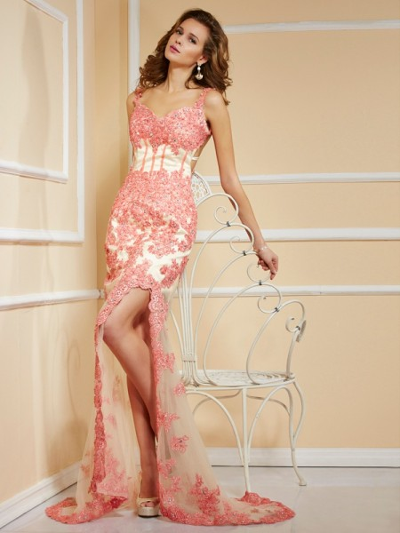 Sheath/Column Net Straps Sweep/Brush Train Applique Sleeveless Dresses