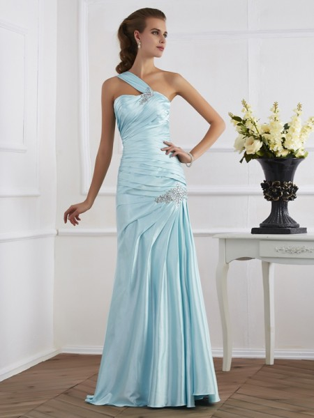 Trumpet/Mermaid Elastic Woven Satin One-Shoulder Floor-Length Ruched Sleeveless Dresses