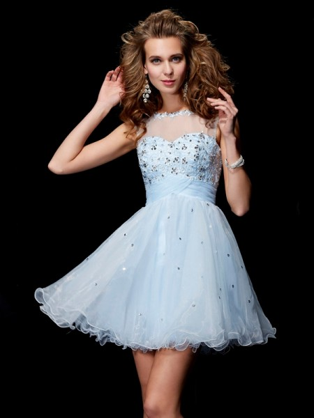 A-Line/Princess Elastic Woven Satin Net Tulle Scoop Short/Mini Beading Sleeveless Cocktail Dresses