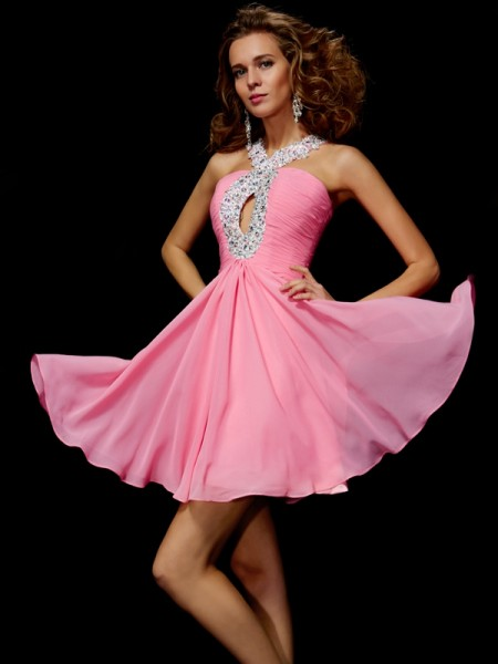 A-Line/Princess Chiffon V-neck Short/Mini Beading Sequin Sleeveless Cocktail Dresses