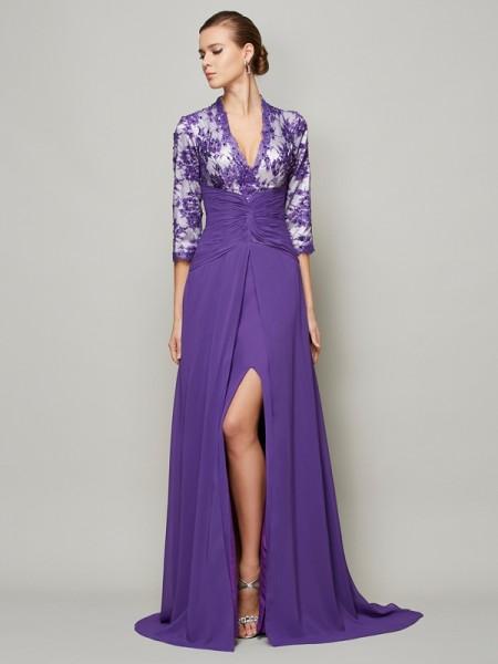 A-Line/Princess Chiffon V-neck Sweep/Brush Train Beading Lace 1/2 Sleeves Dresses