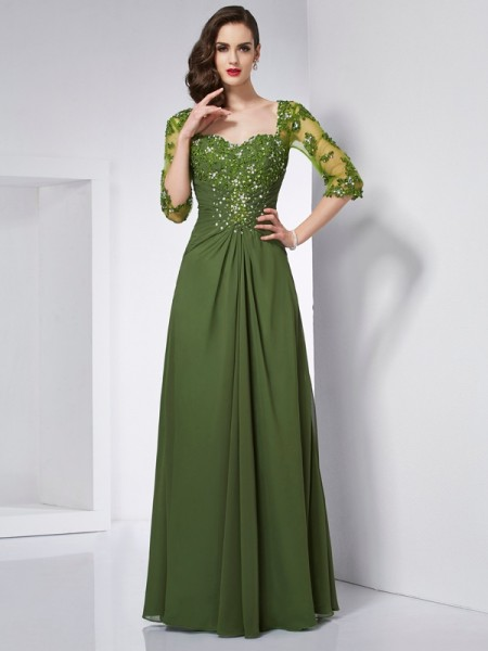 A-Line/Princess Chiffon Sweetheart Floor-Length Beading Applique 3/4 Sleeves Dresses