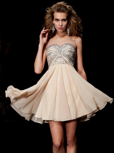 A-Line/Princess Chiffon Scoop Short/Mini Beading Sleeveless Cocktail Dresses