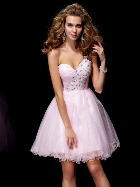 A-Line/Princess Elastic Woven Satin Net One-Shoulder Short/Mini Beading Sleeveless Cocktail Dresses