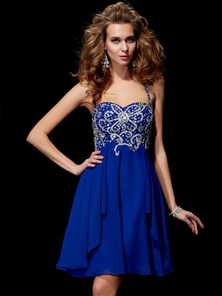 A-Line/Princess Chiffon Halter Short/Mini Beading Sleeveless Cocktail Dresses