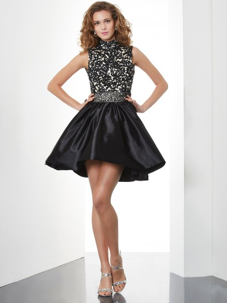 A-Line/Princess Taffeta High Neck Short/Mini Beading Sleeveless Cocktail Dresses